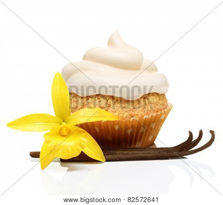 Sweet dessert, cupcake  with vanilla pods and orchid flower isolated on white background.