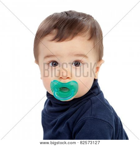 Adorable baby with pacifier isolated on a white background
