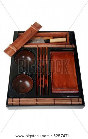 An authentic Sushi Making Kit, Complete with Knife, Chop Sticks, Rice Bowls, Rolling Bamboo Mat, Forming Frame, Presentation Plate, Instructions and more. Sushi is made from Raw Fish and Rice