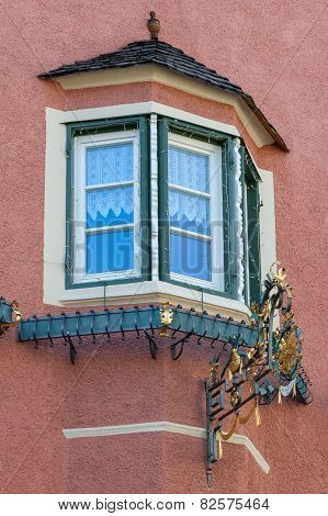 Traditional tyrolean bow window in Italy