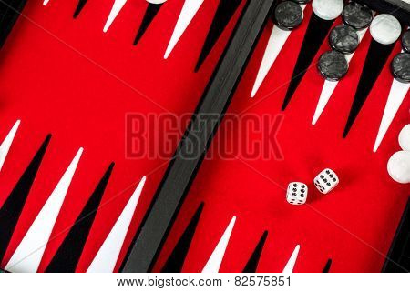 Backgammon Red Board with Dice