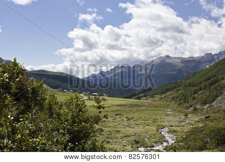 Madesimo Valley Floor, Natural And Peaceful Landscape In The Summer Season