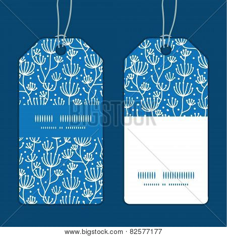 Vector blue white lineart plants vertical stripe frame pattern tags set