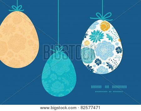 Vector blue and yellow flowersilhouettes hanging Easter eggs ornaments sillhouettes frame card templ
