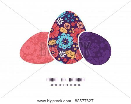 Vector colorful bouquet flowers three matching Easter egg sillhouettes frame card template