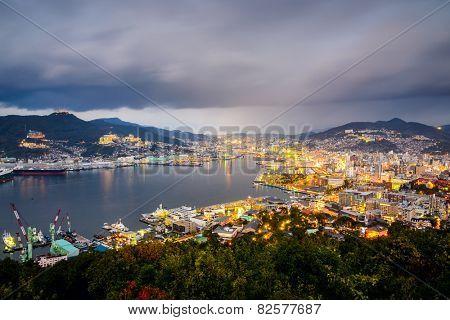 Nagasaki, Japan city skyline at the bay.
