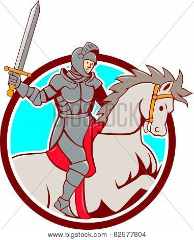 Knight Riding Horse Sword Circle Cartoon