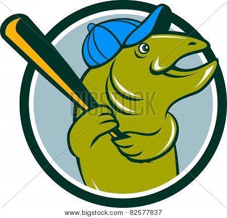 Trout Fish Baseball Batting Circle Cartoon