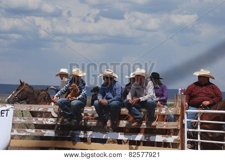 Cowboys and Cowgirl on Fence