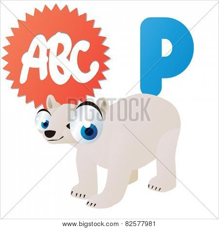cute cartoon comic isolated vector animal abc: P is for Polar Bear