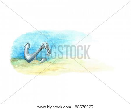 Anchored to seabed, watercolor illustration.