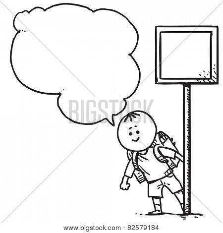 School kid with traffic sign speaking