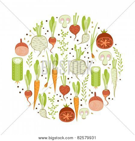 Healthy vegetables. Round design element on white background