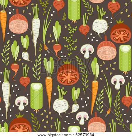 seamless pattern with healthy vegetable on dark background