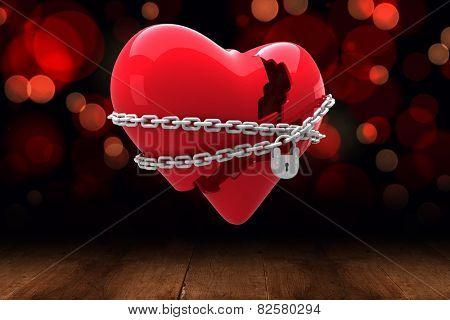 Locked heart against shimmering light design over boards