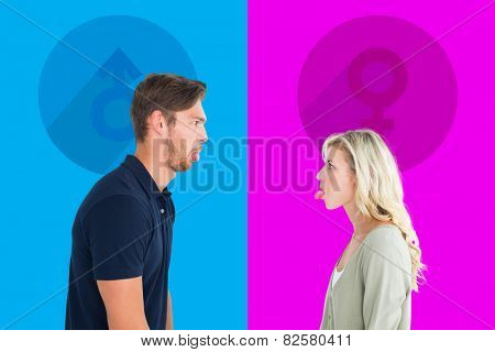 Childish couple having an argument against pink and blue