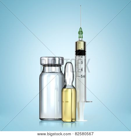 Vaccine in vial with syringe. Vaccination concept.  3d