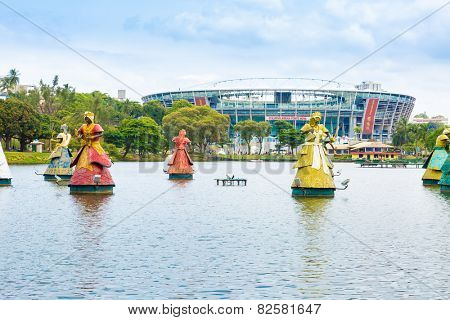 BAHIA, BRAZIL: CIRCA NOV 2014: The traditional African Saints Statues, Orixas, displayed in front of the Itaipava Arena Fonte Nova stadium in Salvador, Brazil.