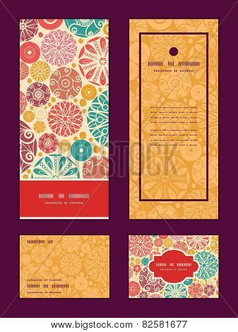 Vector abstract decorative circles vertical frame pattern invitation greeting, RSVP and thank you ca