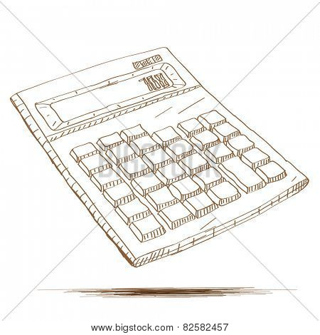 Hand drawn vector illustration of a calculator