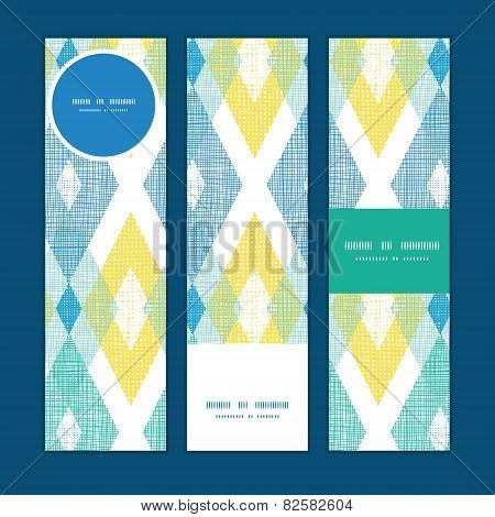Vector colorful fabric ikat diamond vertical banners set pattern background
