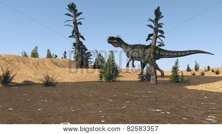 hunting monolophosaurus