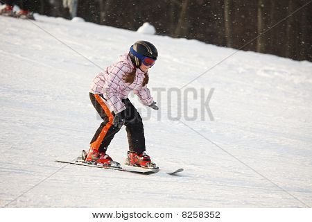 Little Girl Learning Alpine Skiing