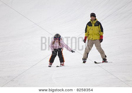 Little Girl Training Alpine Skiing