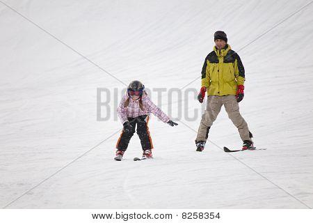 Little Girl Training Alpine Skiing