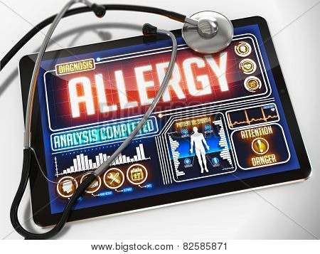 Allergy on the Display of Medical Tablet.