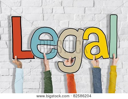 Legal Rightful White Bricks Wall Hands Hold Concept