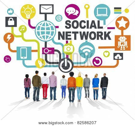 People Togetherness Rear View Communication Social Network Concept