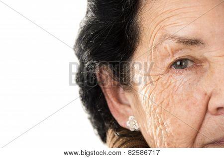portrait of grandmother looking nostalgic at camera