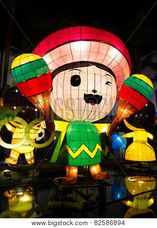 Chinese lantern cartoon with American theme