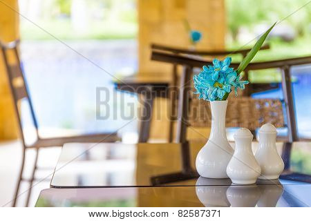 table setup in outdoor cafe, small restaurant at hotel poolside, summer vacations, meal time