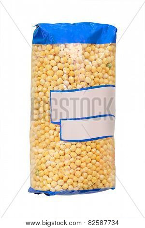 image of a packings of peas on a rack