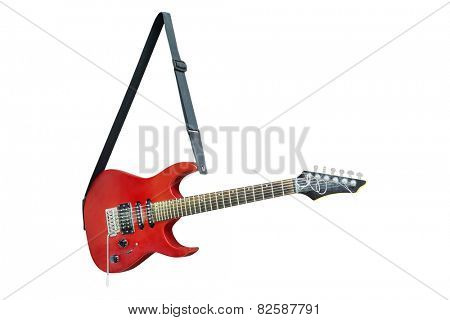 The image of an electric guitar isolated under the white background