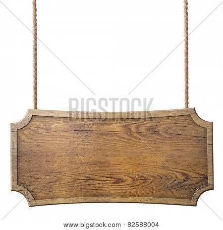 wood sign hanging on rope isolated on white background