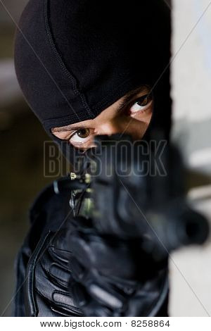 Armed Terrorist Aiming The Camera