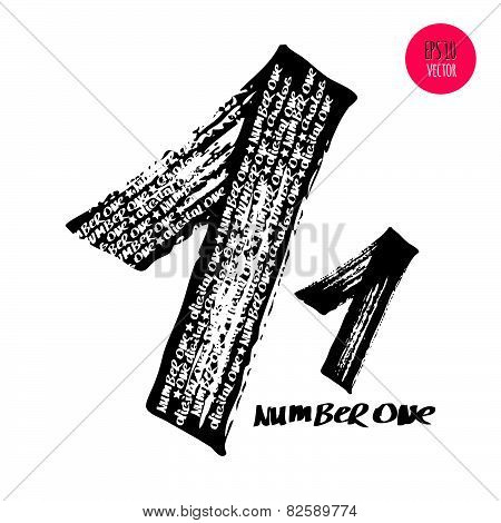 Alphabet Numbers Digital Style Hand-drawn Doodle Sketch.