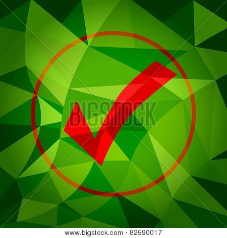 An image of a green polygon background with red checkmark.