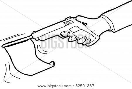 Outlined Flag In Gun