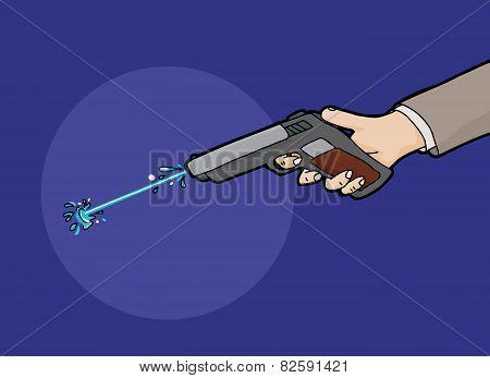 Firing A Squirt Gun