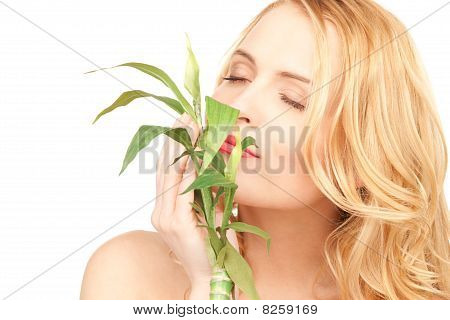Woman With Sprout Over White