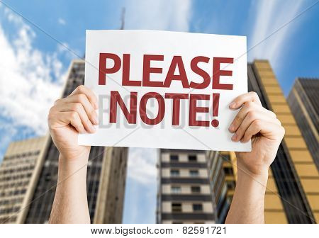 Please Note card with urban background