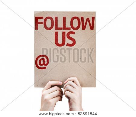 Follow Us and a Copy Space to Put Your Profile card isolated on white background