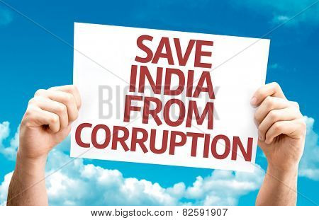 Save India From Corruption card with sky background