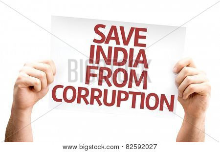 Save India From Corruption card isolated on white background