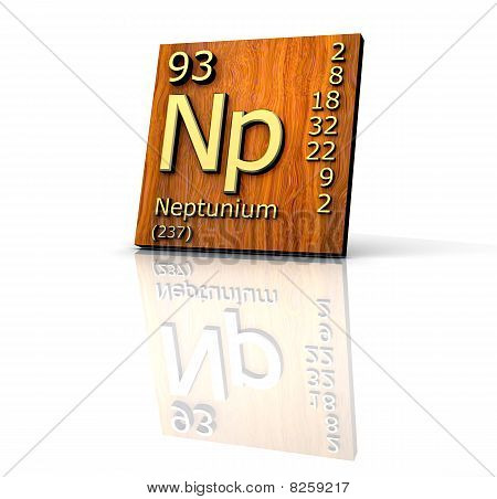 Neptunium Form Periodic Table Of Elements - Wood Board