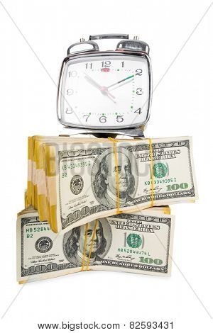 Time is money concept with clock and dollars